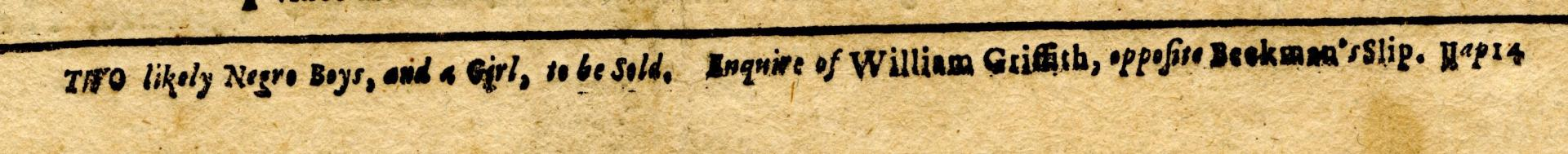 Detail of NY Gazette 1755