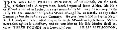Philip Livingston Runaway Ad