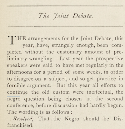 "Columbia Spectator article on ""The Joint Debate"""